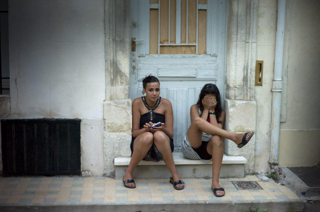 Girls on doorstep